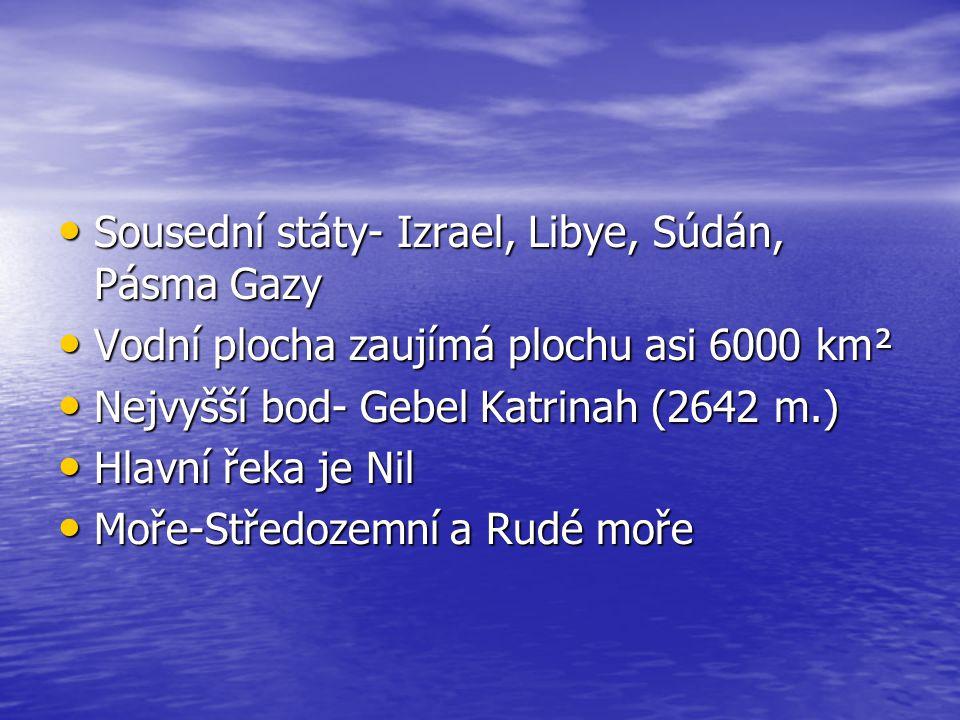 Sousední státy- Izrael, Libye, Súdán, Pásma Gazy Sousední státy- Izrael, Libye, Súdán, Pásma Gazy Vodní plocha zaujímá plochu asi 6000 km² Vodní ploch