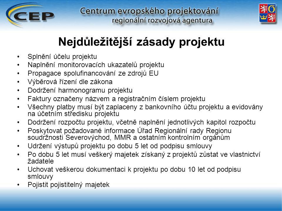 Nejdůležitější zásady projektu Splnění účelu projektu Naplnění monitorovacích ukazatelů projektu Propagace spolufinancování ze zdrojů EU Výběrová řízení dle zákona Dodržení harmonogramu projektu Faktury označeny názvem a registračním číslem projektu Všechny platby musí být zaplaceny z bankovního účtu projektu a evidovány na účetním středisku projektu Dodržení rozpočtu projektu, včetně naplnění jednotlivých kapitol rozpočtu Poskytovat požadované informace Úřad Regionální rady Regionu soudržnosti Severovýchod, MMR a ostatním kontrolním orgánům Udržení výstupů projektu po dobu 5 let od podpisu smlouvy Po dobu 5 let musí veškerý majetek získaný z projektů zůstat ve vlastnictví žadatele Uchovat veškerou dokumentaci k projektu po dobu 10 let od podpisu smlouvy Pojistit pojistitelný majetek