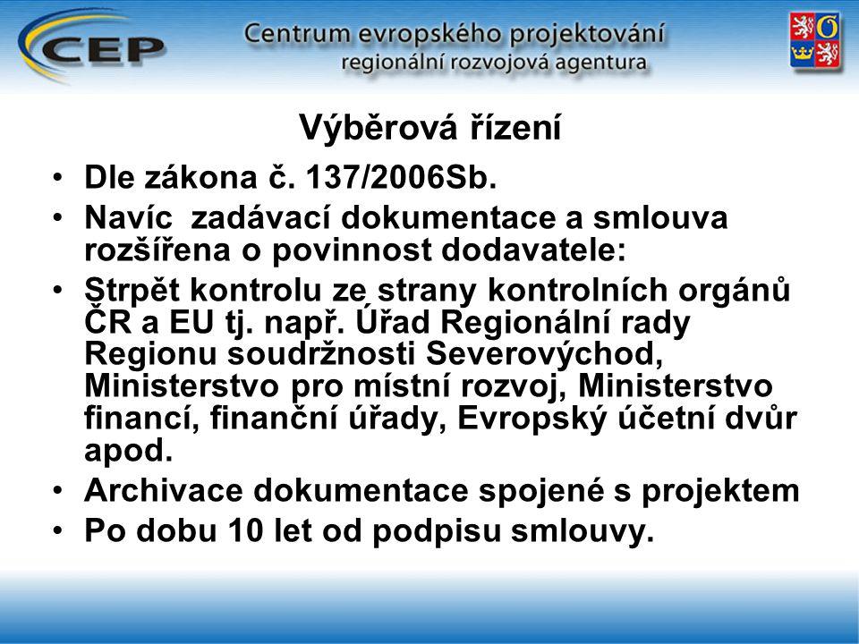 Výběrová řízení Dle zákona č. 137/2006Sb.