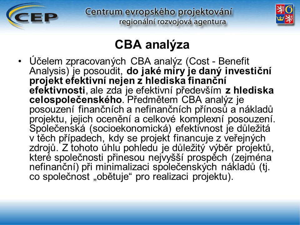CBA analýza Účelem zpracovaných CBA analýz (Cost - Benefit Analysis) je posoudit, do jaké míry je daný investiční projekt efektivní nejen z hlediska finanční efektivnosti, ale zda je efektivní především z hlediska celospolečenského.