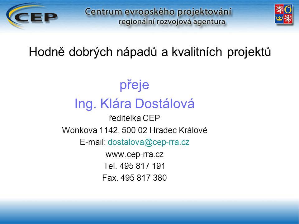 Hodně dobrých nápadů a kvalitních projektů přeje Ing.