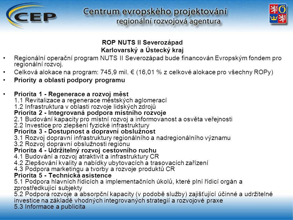ROP NUTS II Severozápad Karlovarský a Ústecký kraj Regionální operační program NUTS II Severozápad bude financován Evropským fondem pro regionální rozvoj.