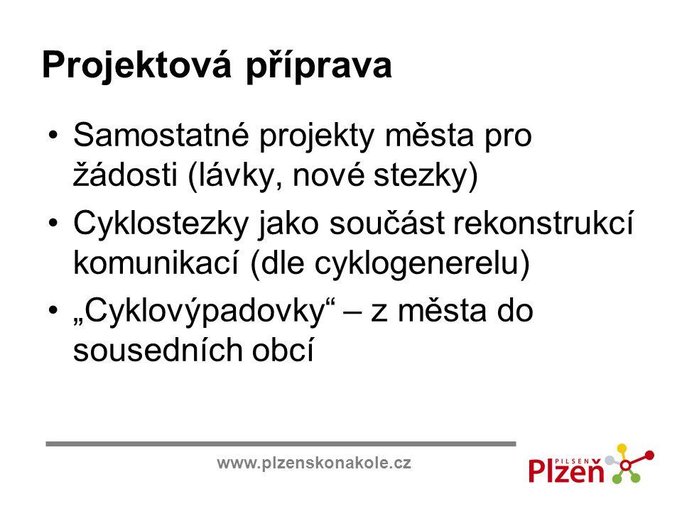 www.plzenskonakole.cz Projektová příprava Samostatné projekty města pro žádosti (lávky, nové stezky) Cyklostezky jako součást rekonstrukcí komunikací