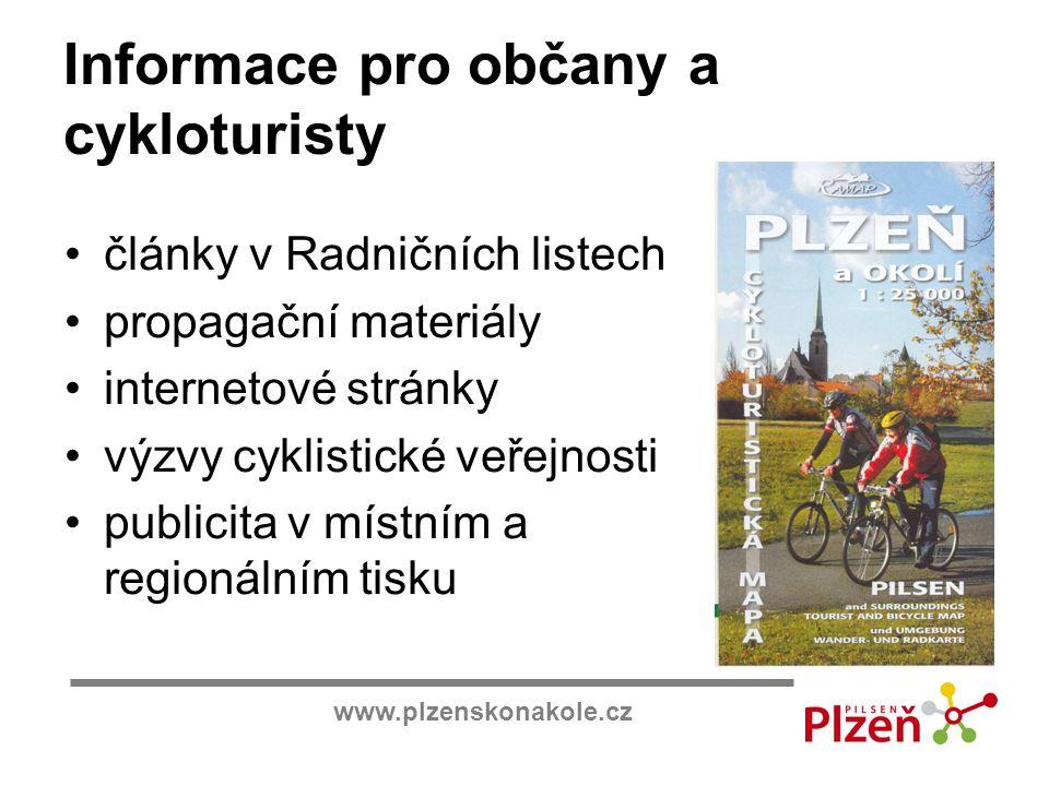 www.plzenskonakole.cz Informace pro občany a cykloturisty články v Radničních listech propagační materiály internetové stránky výzvy cyklistické veřej