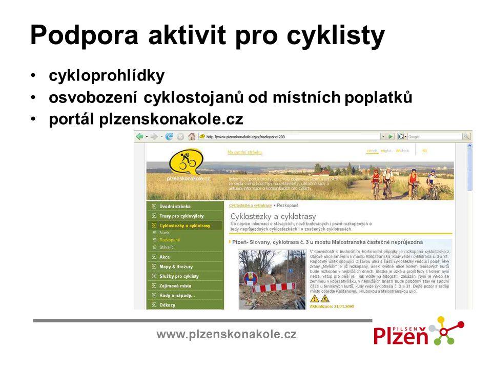 www.plzenskonakole.cz Podpora aktivit pro cyklisty cykloprohlídky osvobození cyklostojanů od místních poplatků portál plzenskonakole.cz