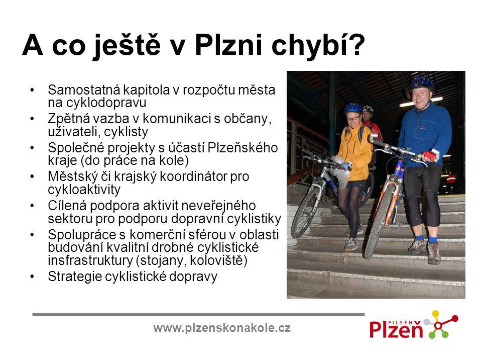 www.plzenskonakole.cz A co ještě v Plzni chybí? Samostatná kapitola v rozpočtu města na cyklodopravu Zpětná vazba v komunikaci s občany, uživateli, cy