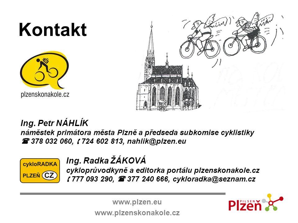 www.plzen.eu www.plzenskonakole.cz Kontakt Ing. Petr NÁHLÍK náměstek primátora města Plzně a předseda subkomise cyklistiky  378 032 060,  724 602 81