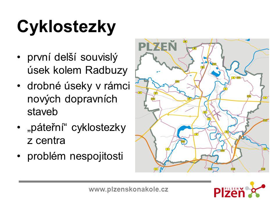"""www.plzenskonakole.cz Cyklostezky první delší souvislý úsek kolem Radbuzy drobné úseky v rámci nových dopravních staveb """"páteřní"""" cyklostezky z centra"""