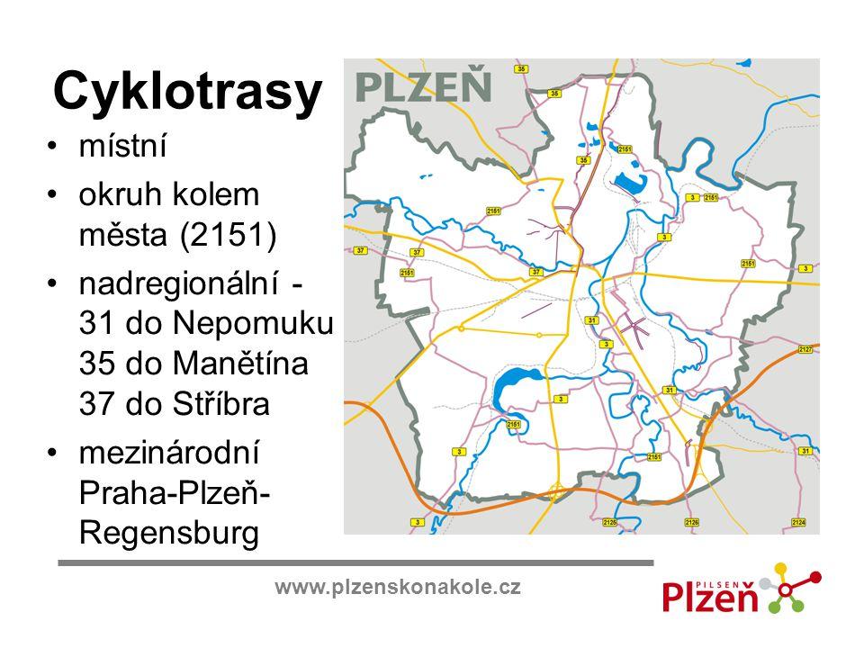 www.plzenskonakole.cz Cyklotrasy místní okruh kolem města (2151) nadregionální - 31 do Nepomuku 35 do Manětína 37 do Stříbra mezinárodní Praha-Plzeň-