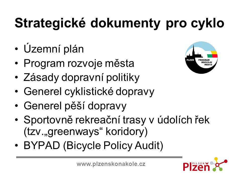 www.plzenskonakole.cz Strategické dokumenty pro cyklo Územní plán Program rozvoje města Zásady dopravní politiky Generel cyklistické dopravy Generel p