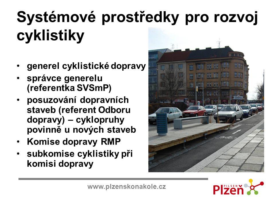www.plzenskonakole.cz Systémové prostředky pro rozvoj cyklistiky generel cyklistické dopravy správce generelu (referentka SVSmP) posuzování dopravních