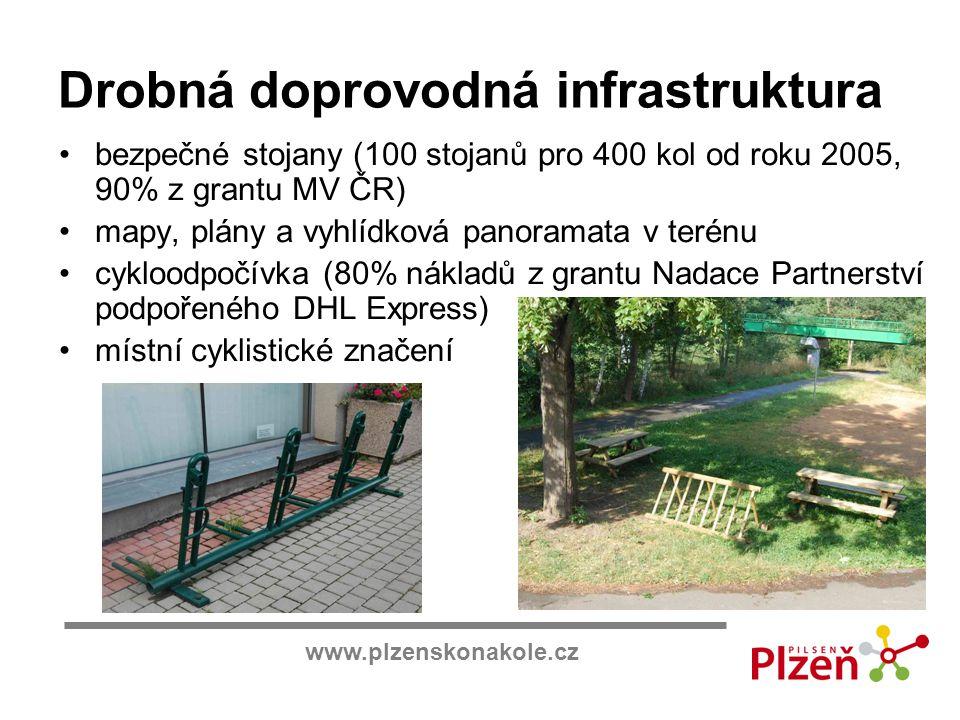 www.plzenskonakole.cz Drobná doprovodná infrastruktura bezpečné stojany (100 stojanů pro 400 kol od roku 2005, 90% z grantu MV ČR) mapy, plány a vyhlí