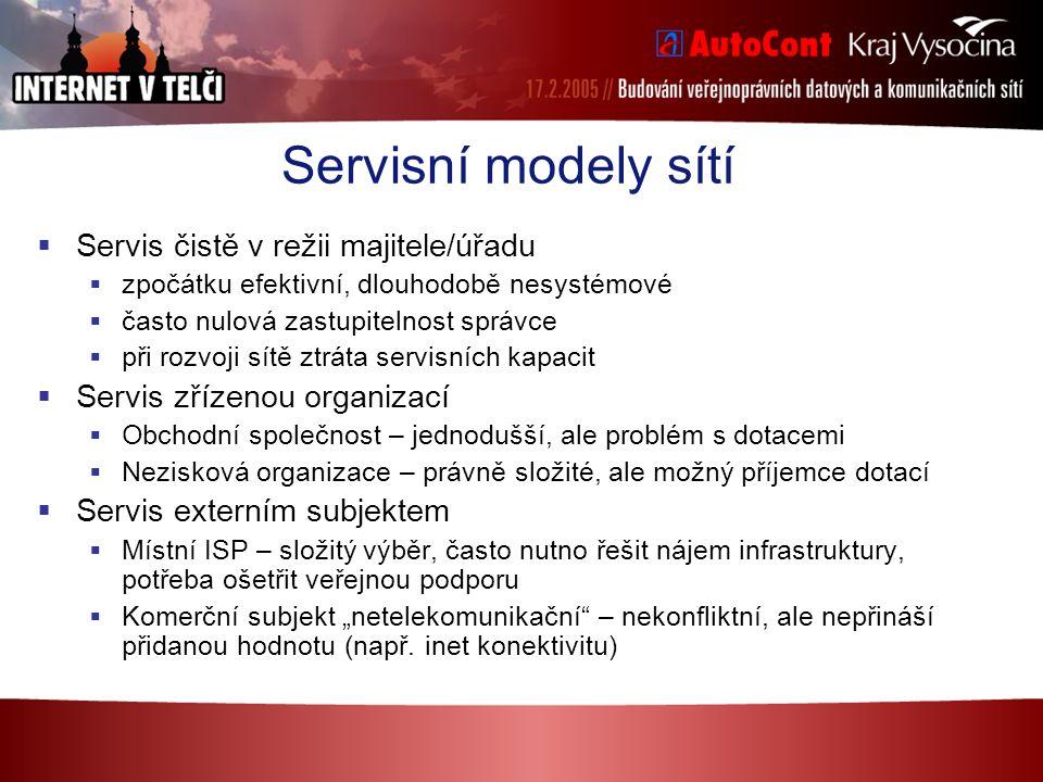 Servisní modely sítí  Servis čistě v režii majitele/úřadu  zpočátku efektivní, dlouhodobě nesystémové  často nulová zastupitelnost správce  při ro