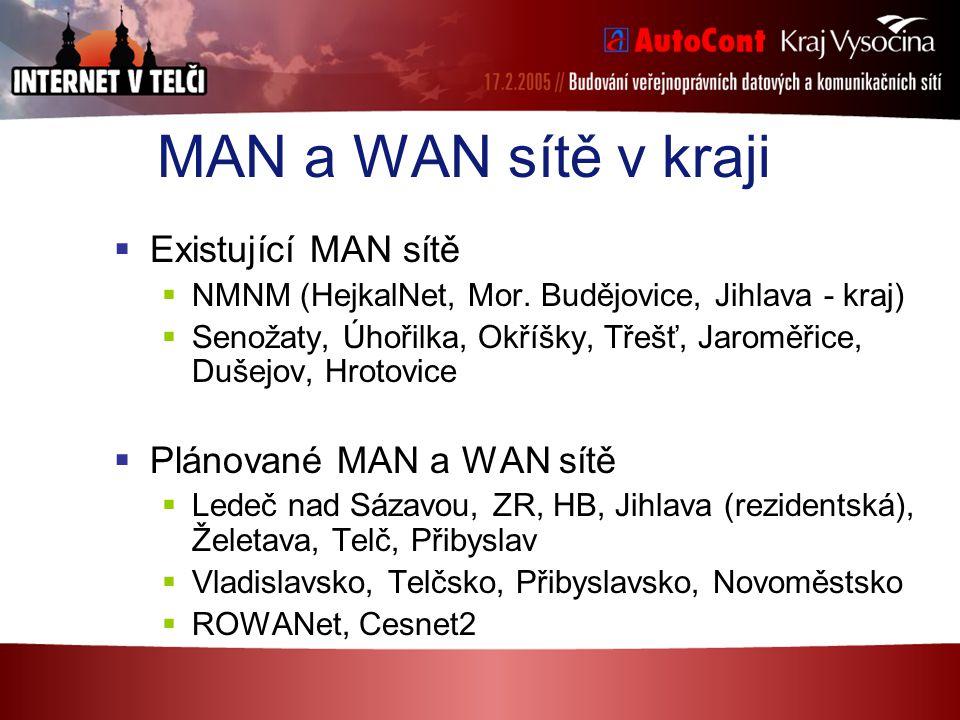 MAN a WAN sítě v kraji  Existující MAN sítě  NMNM (HejkalNet, Mor. Budějovice, Jihlava - kraj)  Senožaty, Úhořilka, Okříšky, Třešť, Jaroměřice, Duš