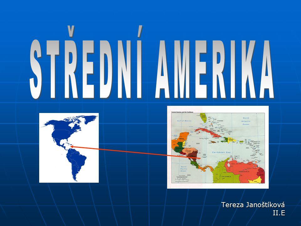 GEOGRAFIE STŘEDNÍ AMERIKY území mezi Tehuantepeckou šíjí a zálivem Urabá území mezi Tehuantepeckou šíjí a zálivem Urabá úmoří oceánů: úmoří oceánů: do Atlantiku směřují delší řeky (např.