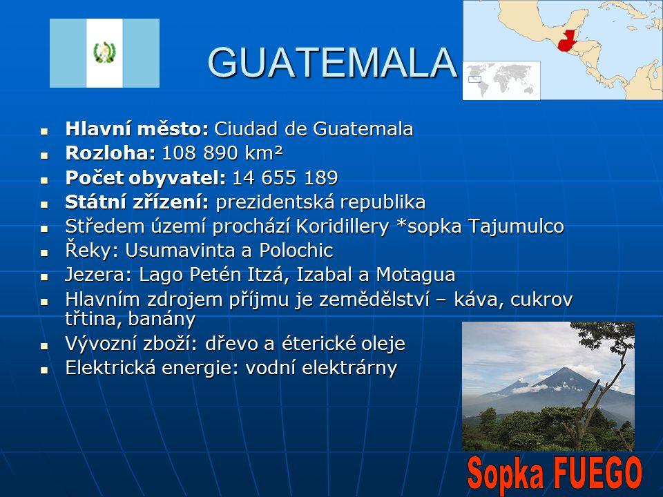 GUATEMALA Hlavní město: Ciudad de Guatemala Hlavní město: Ciudad de Guatemala Rozloha: 108 890 km² Rozloha: 108 890 km² Počet obyvatel: 14 655 189 Poč