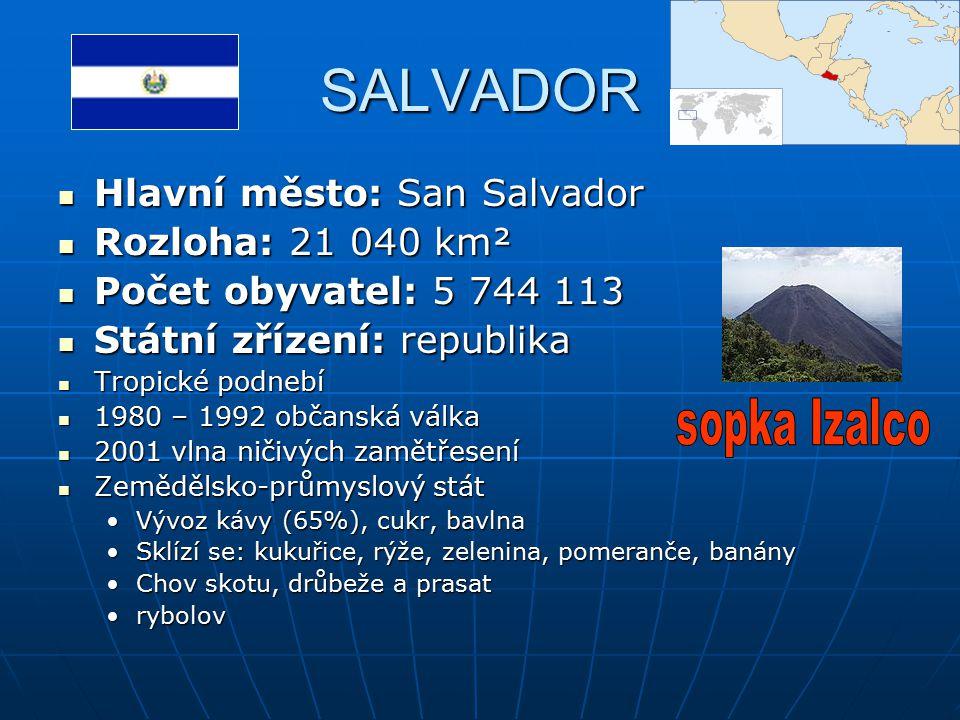 SALVADOR Hlavní město: San Salvador Hlavní město: San Salvador Rozloha: 21 040 km² Rozloha: 21 040 km² Počet obyvatel: 5 744 113 Počet obyvatel: 5 744