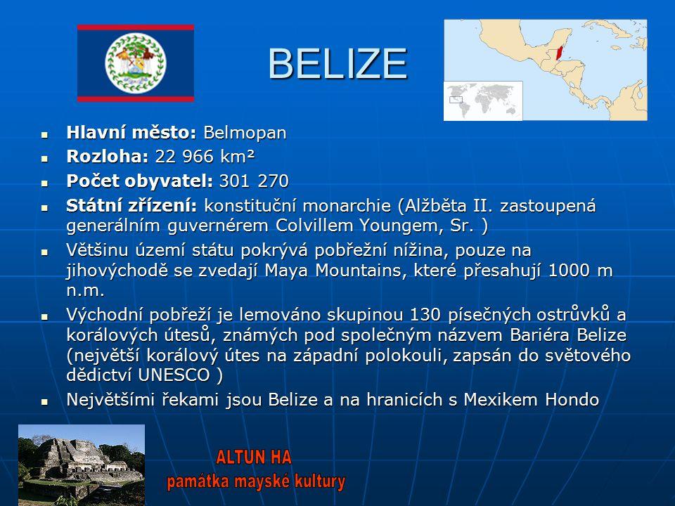 BELIZE Hlavní město: Belmopan Hlavní město: Belmopan Rozloha: 22 966 km² Rozloha: 22 966 km² Počet obyvatel: 301 270 Počet obyvatel: 301 270 Státní zř