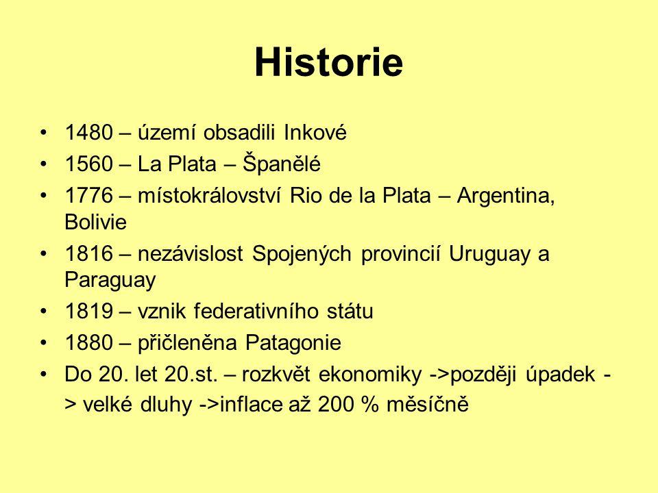 Historie 1480 – území obsadili Inkové 1560 – La Plata – Španělé 1776 – místokrálovství Rio de la Plata – Argentina, Bolivie 1816 – nezávislost Spojených provincií Uruguay a Paraguay 1819 – vznik federativního státu 1880 – přičleněna Patagonie Do 20.