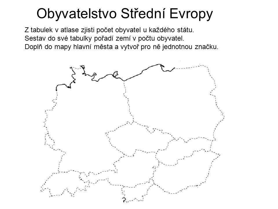 Obyvatelstvo Střední Evropy Z tabulek v atlase zjisti počet obyvatel u každého státu. Sestav do své tabulky pořadí zemí v počtu obyvatel. Doplň do map