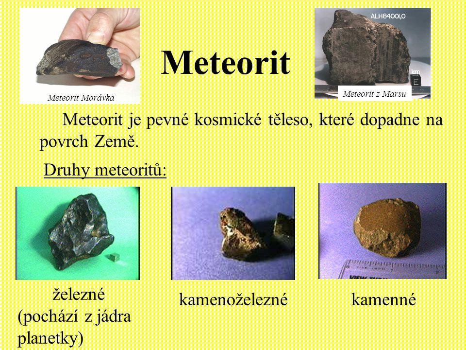 Bolid Tělesa o rozměrech od několika dm až přibližně do metru se při zabrzdění v atmosféře rozžhaví a září na obloze jako velmi jasný meteor, který nazýváme bolid.