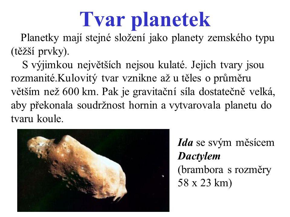 Tvar planetek Planetky mají stejné složení jako planety zemského typu (těžší prvky).
