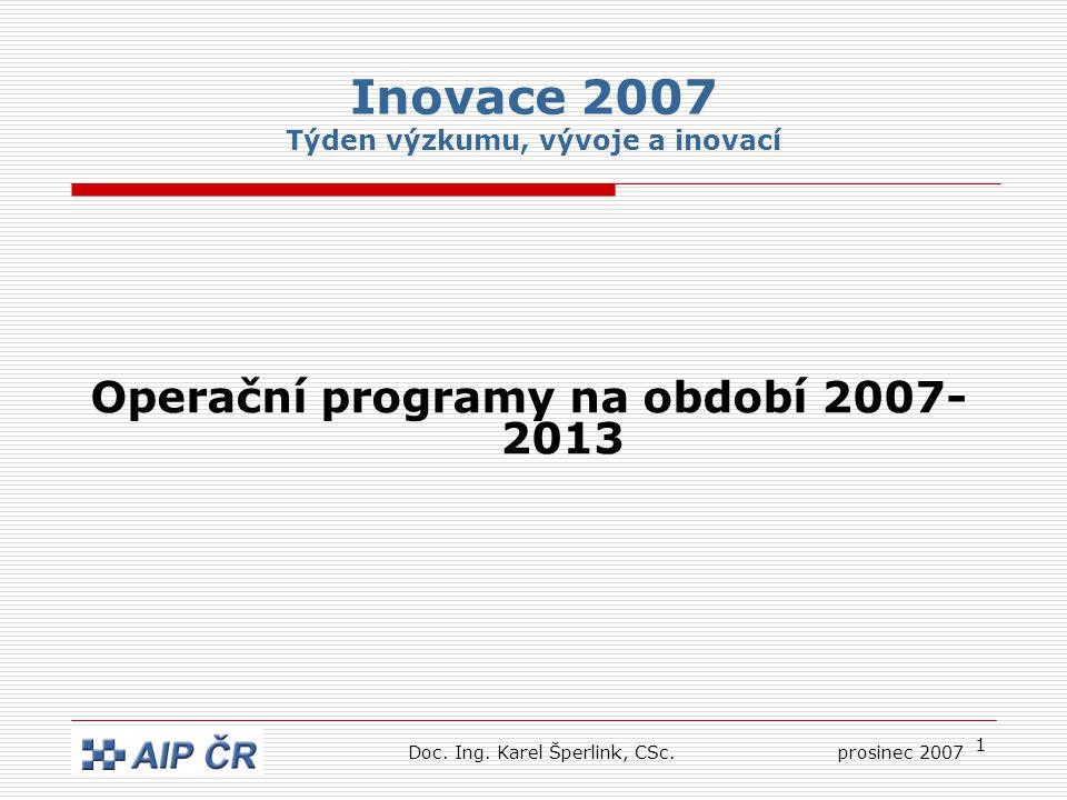 1 Inovace 2007 Týden výzkumu, vývoje a inovací Operační programy na období 2007- 2013 Doc.