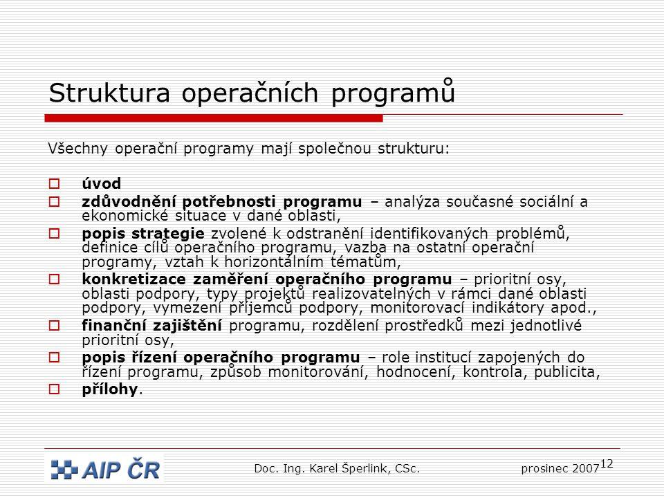 12 Struktura operačních programů Všechny operační programy mají společnou strukturu:  úvod  zdůvodnění potřebnosti programu – analýza současné sociální a ekonomické situace v dané oblasti,  popis strategie zvolené k odstranění identifikovaných problémů, definice cílů operačního programu, vazba na ostatní operační programy, vztah k horizontálním tématům,  konkretizace zaměření operačního programu – prioritní osy, oblasti podpory, typy projektů realizovatelných v rámci dané oblasti podpory, vymezení příjemců podpory, monitorovací indikátory apod.,  finanční zajištění programu, rozdělení prostředků mezi jednotlivé prioritní osy,  popis řízení operačního programu – role institucí zapojených do řízení programu, způsob monitorování, hodnocení, kontrola, publicita,  přílohy.