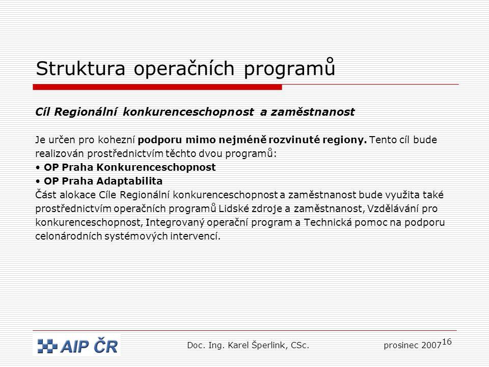 16 Struktura operačních programů Cíl Regionální konkurenceschopnost a zaměstnanost Je určen pro kohezní podporu mimo nejméně rozvinuté regiony.