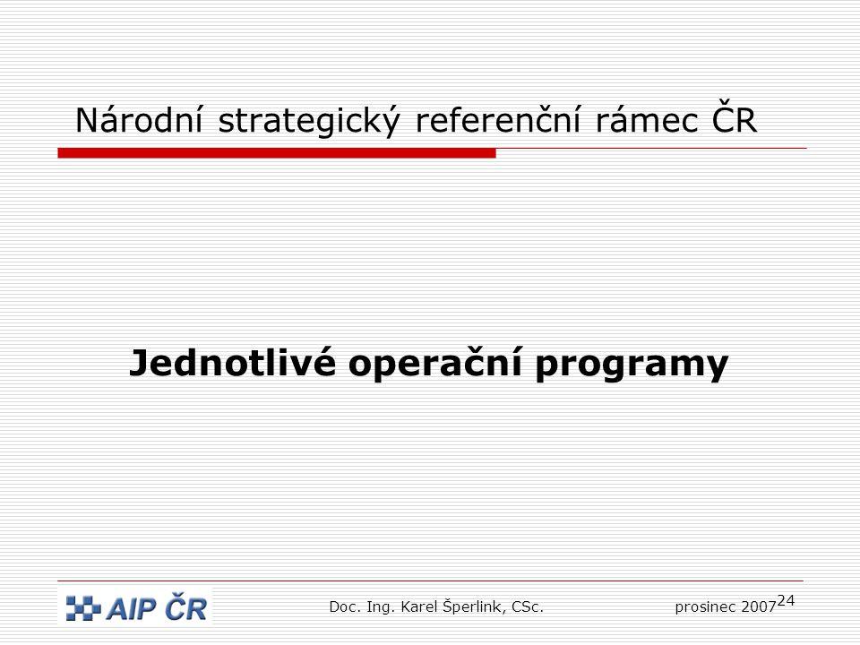 24 Národní strategický referenční rámec ČR Jednotlivé operační programy Doc.