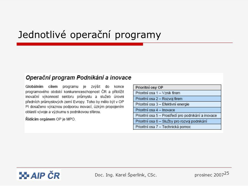 25 Jednotlivé operační programy Doc. Ing. Karel Šperlink, CSc.prosinec 2007