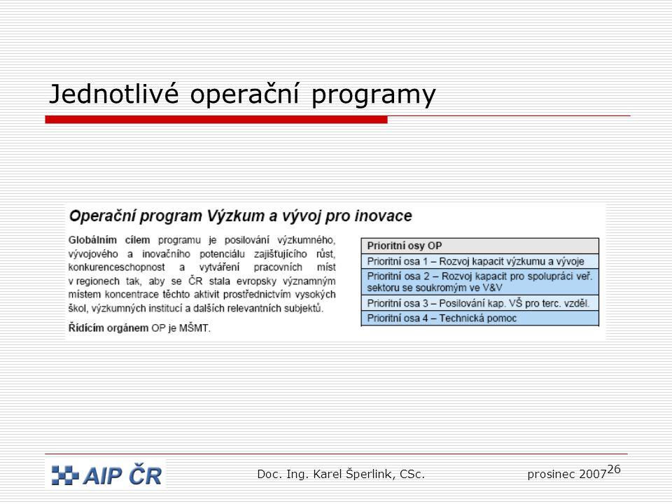 26 Jednotlivé operační programy Doc. Ing. Karel Šperlink, CSc.prosinec 2007