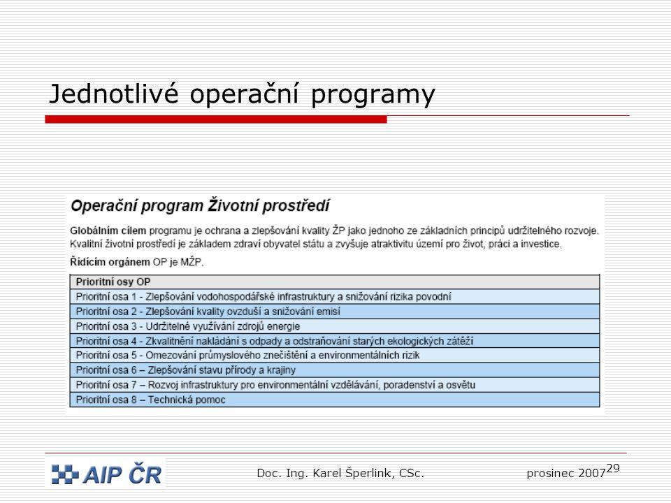 29 Jednotlivé operační programy Doc. Ing. Karel Šperlink, CSc.prosinec 2007