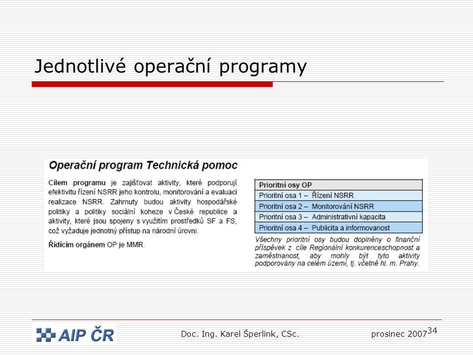34 Jednotlivé operační programy Doc. Ing. Karel Šperlink, CSc.prosinec 2007