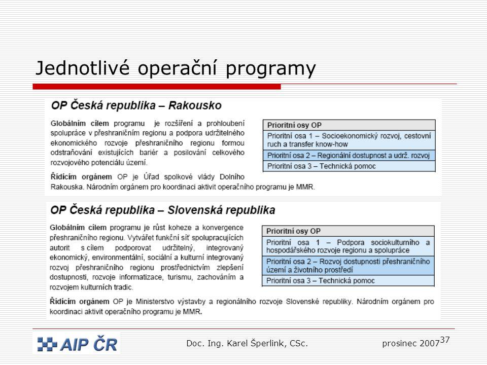 37 Jednotlivé operační programy Doc. Ing. Karel Šperlink, CSc.prosinec 2007
