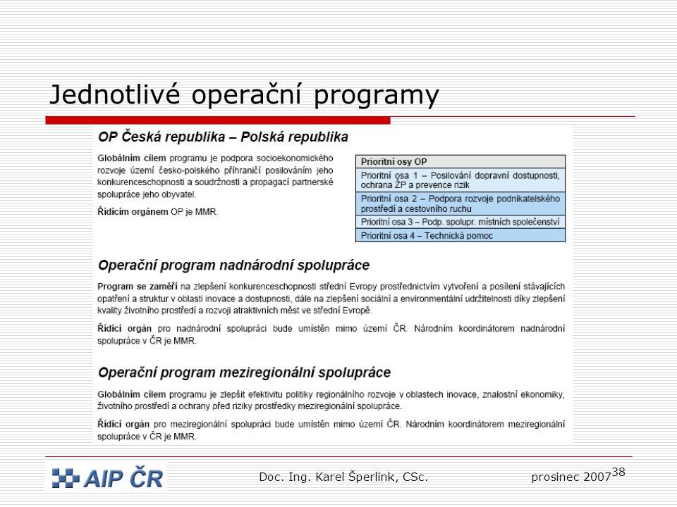 38 Jednotlivé operační programy Doc. Ing. Karel Šperlink, CSc.prosinec 2007