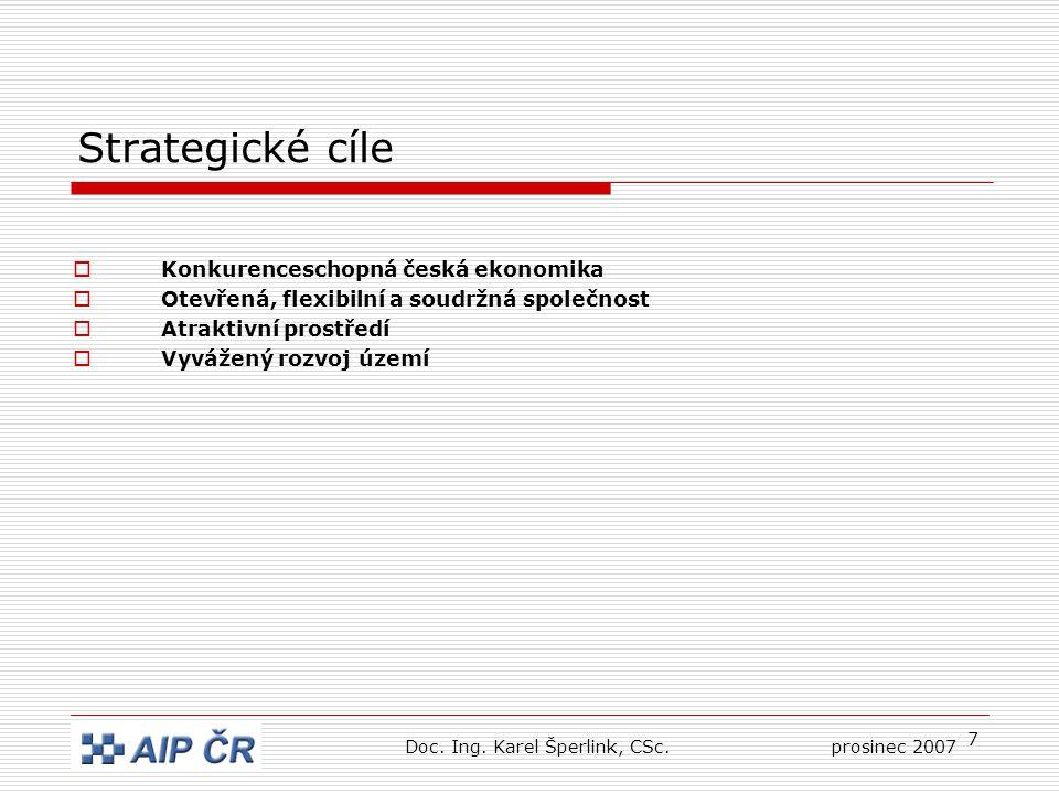 7 Strategické cíle  Konkurenceschopná česká ekonomika  Otevřená, flexibilní a soudržná společnost  Atraktivní prostředí  Vyvážený rozvoj území Doc.