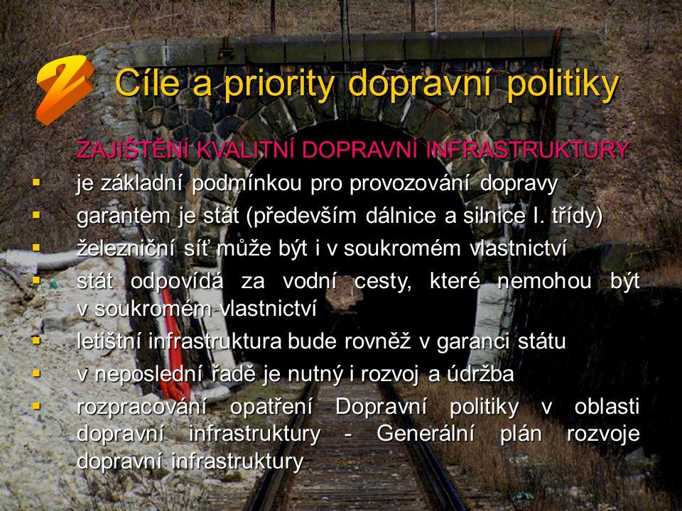 Cíle a priority dopravní politiky ZAJIŠTĚNÍ KVALITNÍ DOPRAVNÍ INFRASTRUKTURY  je základní podmínkou pro provozování dopravy  garantem je stát (především dálnice a silnice I.