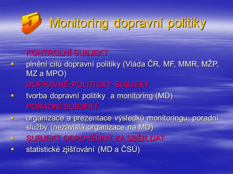 Monitoring dopravní politiky KONTROLNÍ SUBJEKT  plnění cílů dopravní politiky (Vláda ČR, MF, MMR, MŽP, MZ a MPO) DOPRAVNĚ-POLITICKÝ SUBJEKT  tvorba dopravní politiky a monitoring (MD) PORADNÍ SUBJEKT  organizace a prezentace výsledků monitoringu; poradní služby (nezávislá organizace na MD)  SUBJEKT ODPOVĚDNÝ ZA SBĚR DAT  statistické zjišťování (MD a ČSÚ)