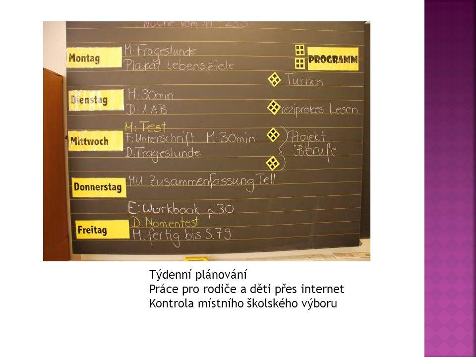 Týdenní plánování Práce pro rodiče a děti přes internet Kontrola místního školského výboru