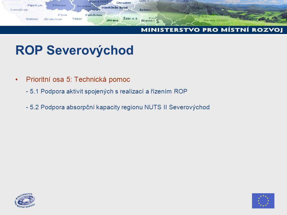 ROP Severovýchod Prioritní osa 5: Technická pomoc - 5.1 Podpora aktivit spojených s realizací a řízením ROP - 5.2 Podpora absorpční kapacity regionu NUTS II Severovýchod