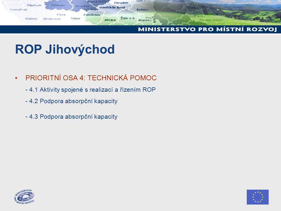 ROP Jihovýchod PRIORITNÍ OSA 4: TECHNICKÁ POMOC - 4.1 Aktivity spojené s realizací a řízením ROP - 4.2 Podpora absorpční kapacity - 4.3 Podpora absorpční kapacity