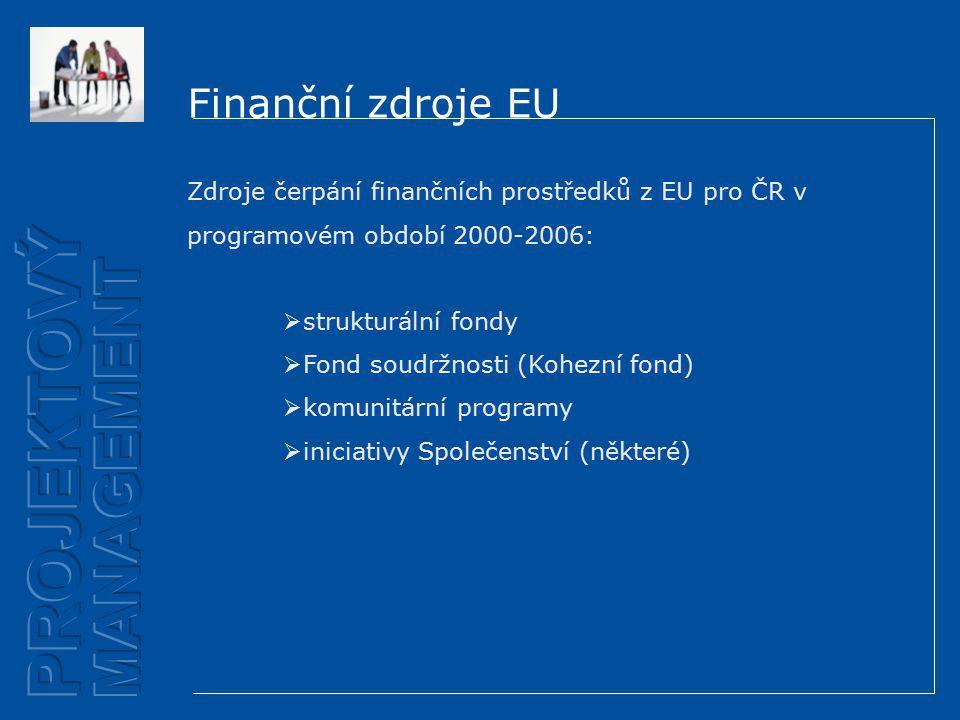 Finanční zdroje EU Zdroje čerpání finančních prostředků z EU pro ČR v programovém období 2000-2006:  strukturální fondy  Fond soudržnosti (Kohezní fond)  komunitární programy  iniciativy Společenství (některé)