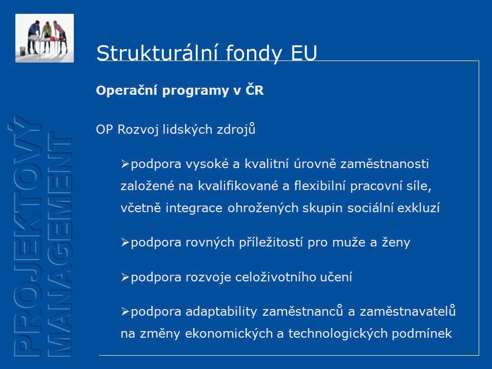 Strukturální fondy EU Operační programy v ČR OP Rozvoj lidských zdrojů  podpora vysoké a kvalitní úrovně zaměstnanosti založené na kvalifikované a flexibilní pracovní síle, včetně integrace ohrožených skupin sociální exkluzí  podpora rovných příležitostí pro muže a ženy  podpora rozvoje celoživotního učení  podpora adaptability zaměstnanců a zaměstnavatelů na změny ekonomických a technologických podmínek