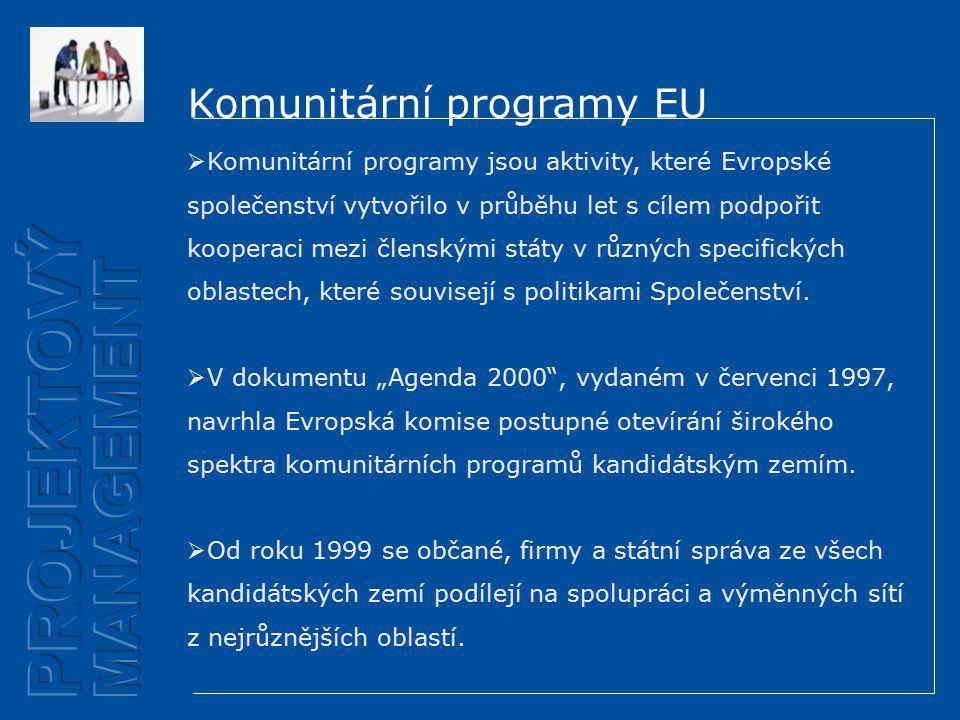 Komunitární programy EU  Komunitární programy jsou aktivity, které Evropské společenství vytvořilo v průběhu let s cílem podpořit kooperaci mezi členskými státy v různých specifických oblastech, které souvisejí s politikami Společenství.