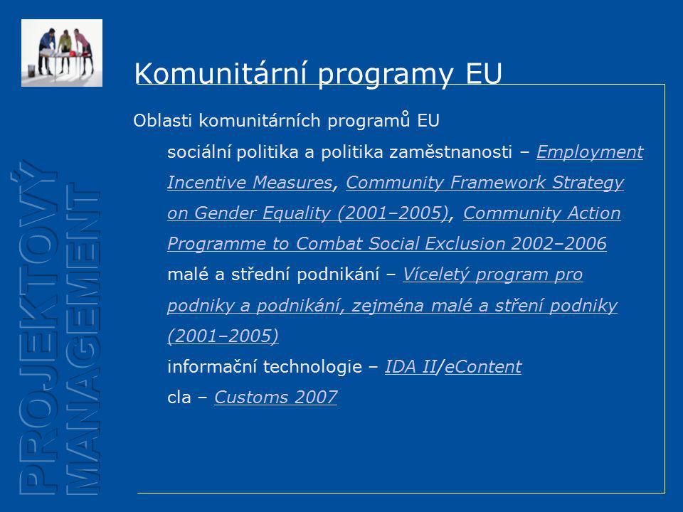 Komunitární programy EU Oblasti komunitárních programů EU sociální politika a politika zaměstnanosti – Employment Incentive Measures, Community Framework Strategy on Gender Equality (2001–2005), Community Action Programme to Combat Social Exclusion 2002–2006Employment Incentive MeasuresCommunity Framework Strategy on Gender Equality (2001–2005)Community Action Programme to Combat Social Exclusion 2002–2006 malé a střední podnikání – Víceletý program pro podniky a podnikání, zejména malé a stření podniky (2001–2005)Víceletý program pro podniky a podnikání, zejména malé a stření podniky (2001–2005) informační technologie – IDA II/eContentIDA IIeContent cla – Customs 2007Customs 2007