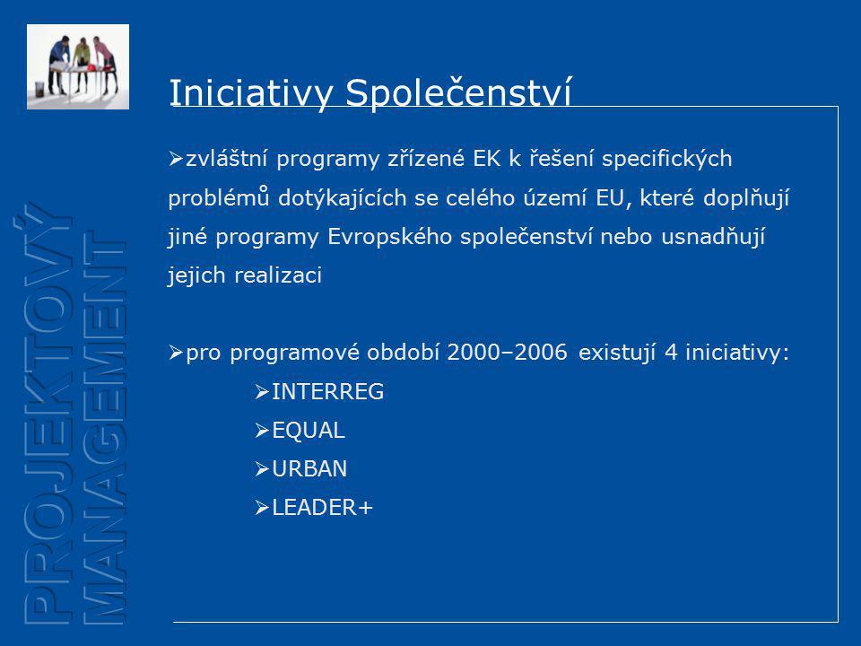 Iniciativy Společenství  zvláštní programy zřízené EK k řešení specifických problémů dotýkajících se celého území EU, které doplňují jiné programy Evropského společenství nebo usnadňují jejich realizaci  pro programové období 2000–2006 existují 4 iniciativy:  INTERREG  EQUAL  URBAN  LEADER+