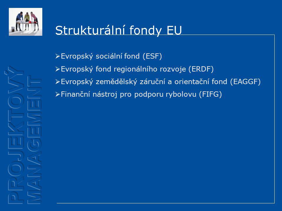 Strukturální fondy EU  Evropský sociální fond (ESF)  Evropský fond regionálního rozvoje (ERDF)  Evropský zemědělský záruční a orientační fond (EAGGF)  Finanční nástroj pro podporu rybolovu (FIFG)