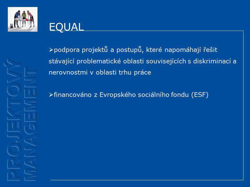 EQUAL  podpora projektů a postupů, které napomáhají řešit stávající problematické oblasti souvisejících s diskriminací a nerovnostmi v oblasti trhu práce  financováno z Evropského sociálního fondu (ESF)