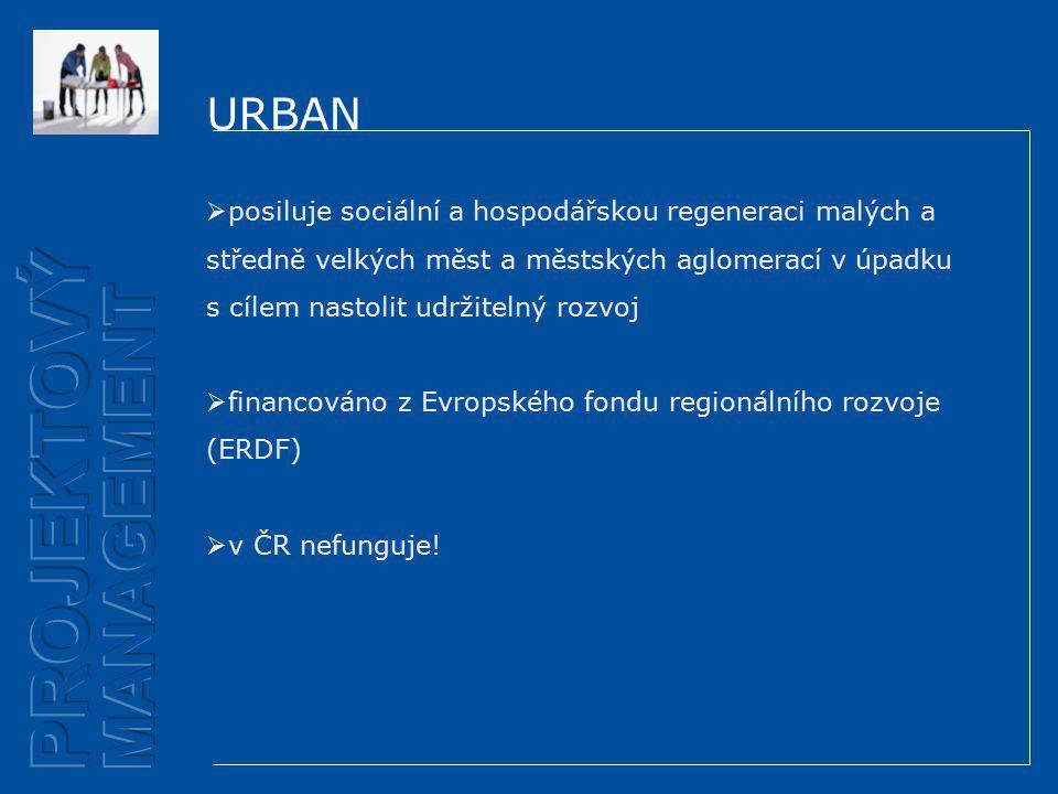 URBAN  posiluje sociální a hospodářskou regeneraci malých a středně velkých měst a městských aglomerací v úpadku s cílem nastolit udržitelný rozvoj  financováno z Evropského fondu regionálního rozvoje (ERDF)  v ČR nefunguje!